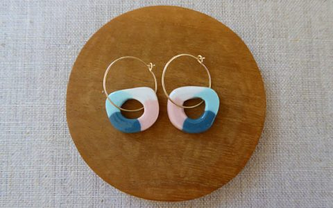 Colour Tube round disc hoop earrings